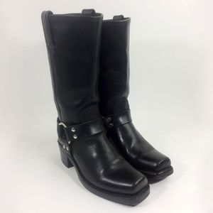 FRYE 77300 Black Harness Motorcycle Boots Size 8